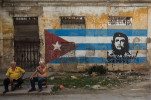 "There is no commercial advertising in Cuba. The words on the mural read ""Towards victory always."""