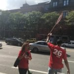 Local 26 union members protest on Mass Ave.