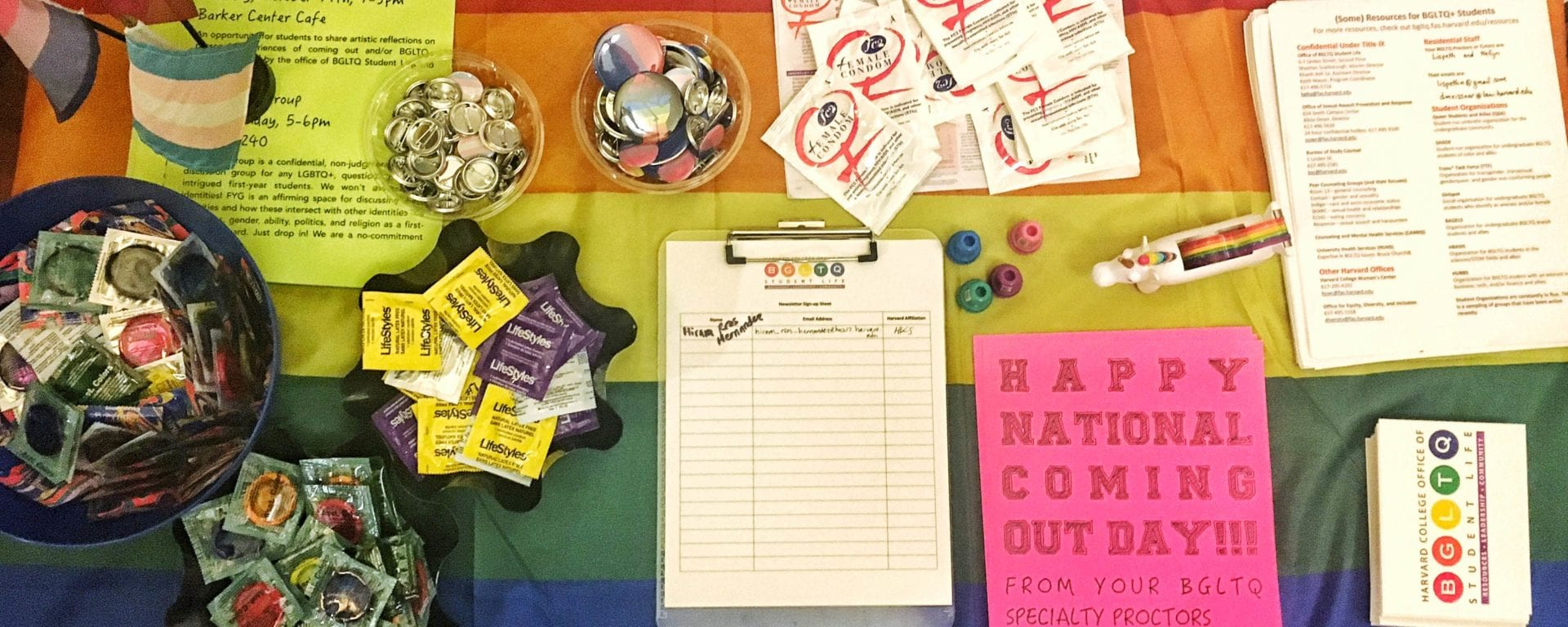 A spread at the Office of BGLTQ Student Life-hosted National Coming Out Day open mic.