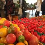 Heirloom tomatoes and Market patrons.