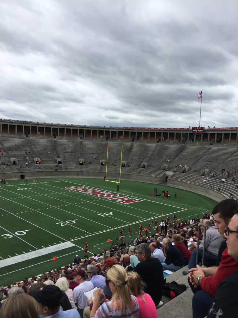 Harvard Stadium, or Massachusetts in October.